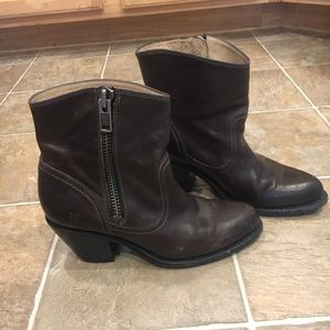 Frye brown leather ankle zipper bootie boots 8